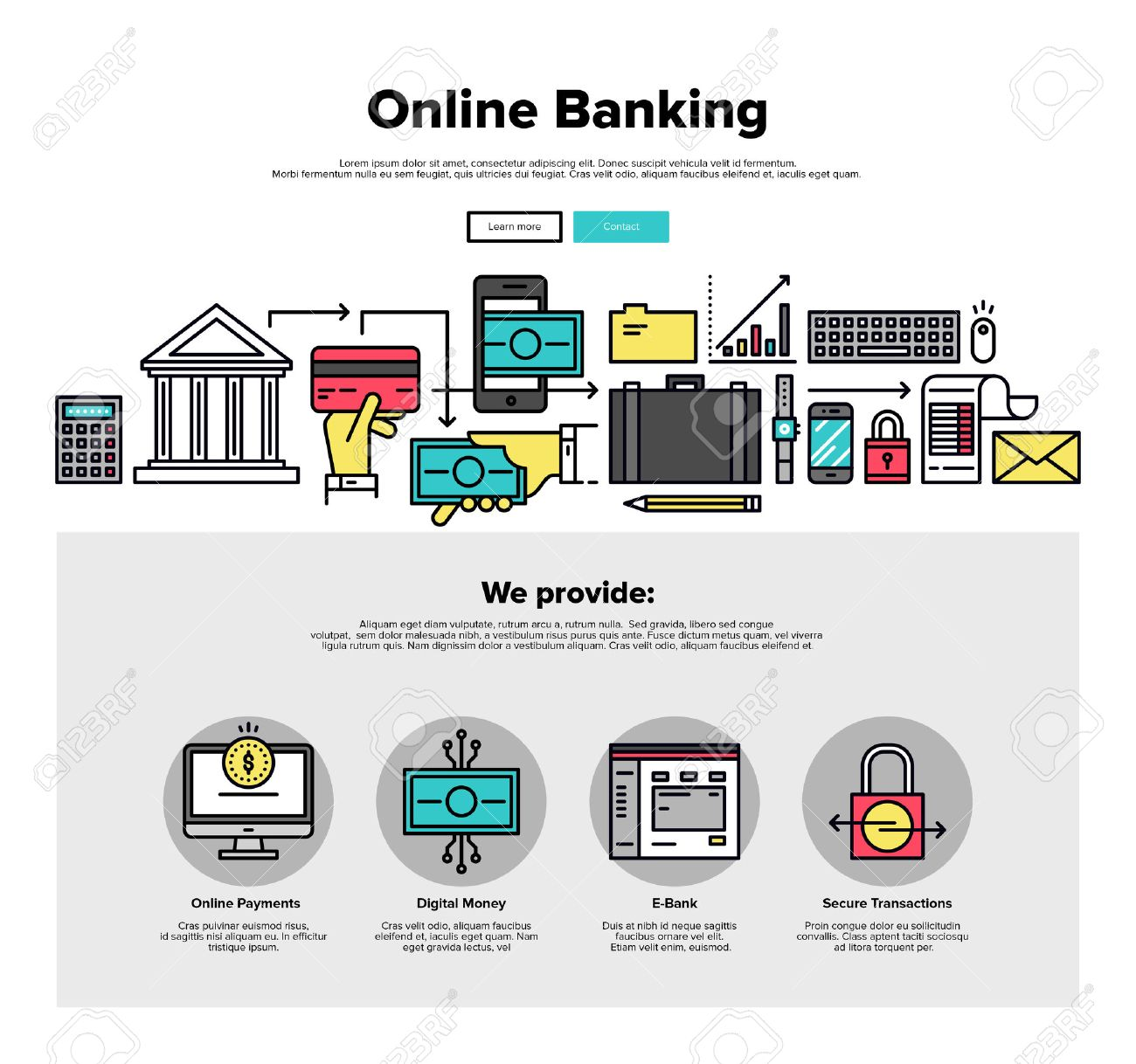 One Page Web Design Template With Thin Line Icons Of Online Bank ...