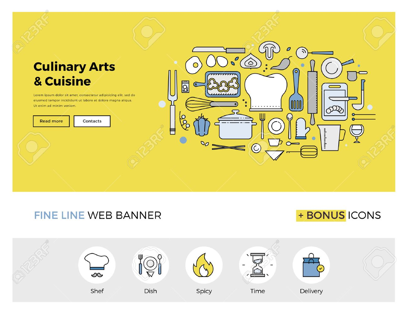 Flat line design of web banner template with outline icons of master class for culinary art cooking process, gourmet cuisine by chef. Modern vector illustration concept for website or infographics. Stock Vector - 47210744
