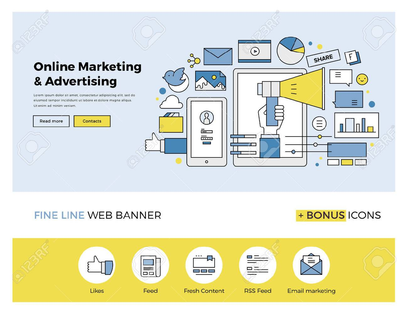Flat line design of web banner template with outline icons of online marketing promotion, digital advertising research, SMM campaign. Modern vector illustration concept for website or infographics. Stock Vector - 47210743