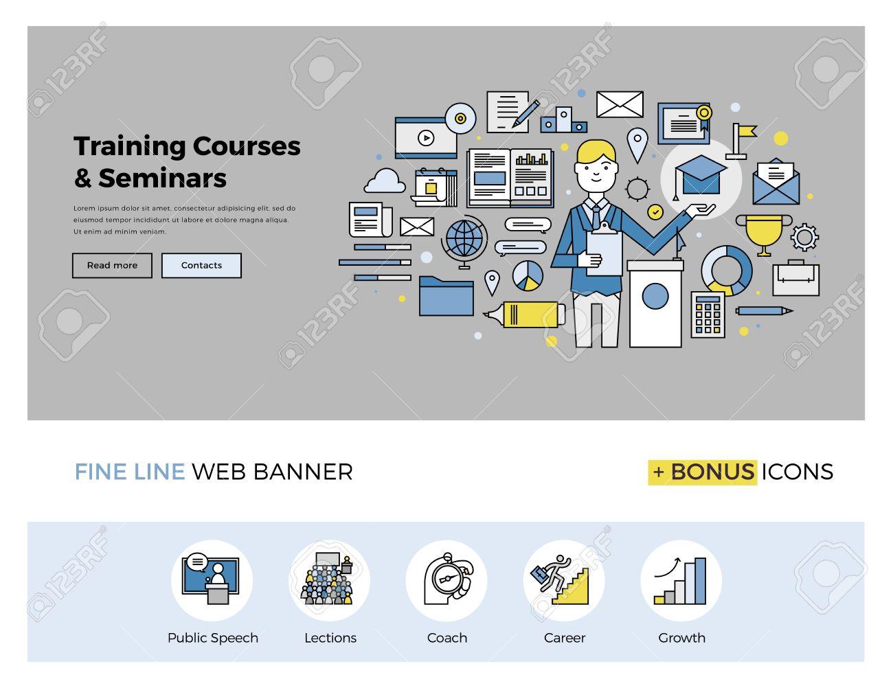 Diseño De La Línea Plana De La Plantilla De Banner Web Con Iconos ...