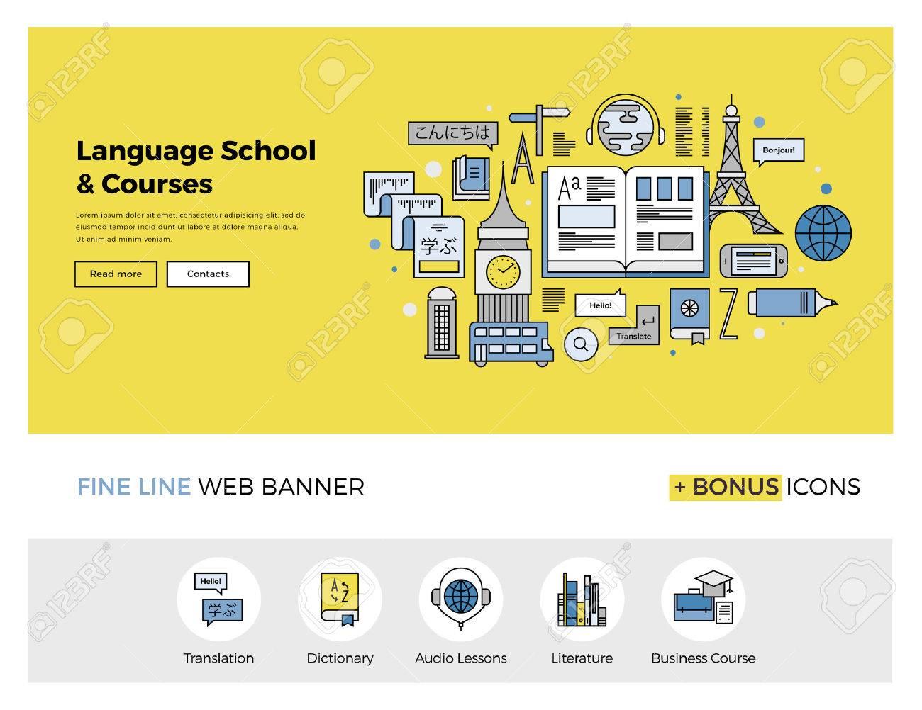 Diseño De La Línea Plana De La Plantilla De Banner Web Con Iconos De ...