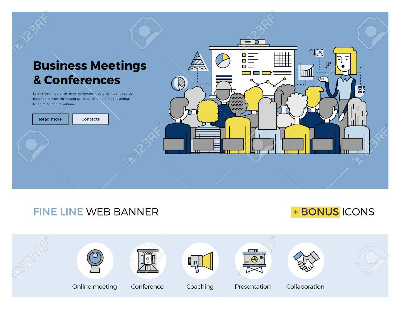 Flat line design of web banner template with outline icons of business people training, corporate conference, sales meeting presentation. Modern vector illustration concept for website or infographics. Stock Vector - 47210748