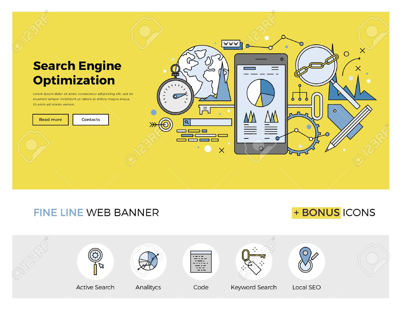 Flat line design of web banner template with outline icons of search engine optimization service, SEO data analytics and keyword process. Modern vector illustration concept for website or infographics. Stock Vector - 47210754