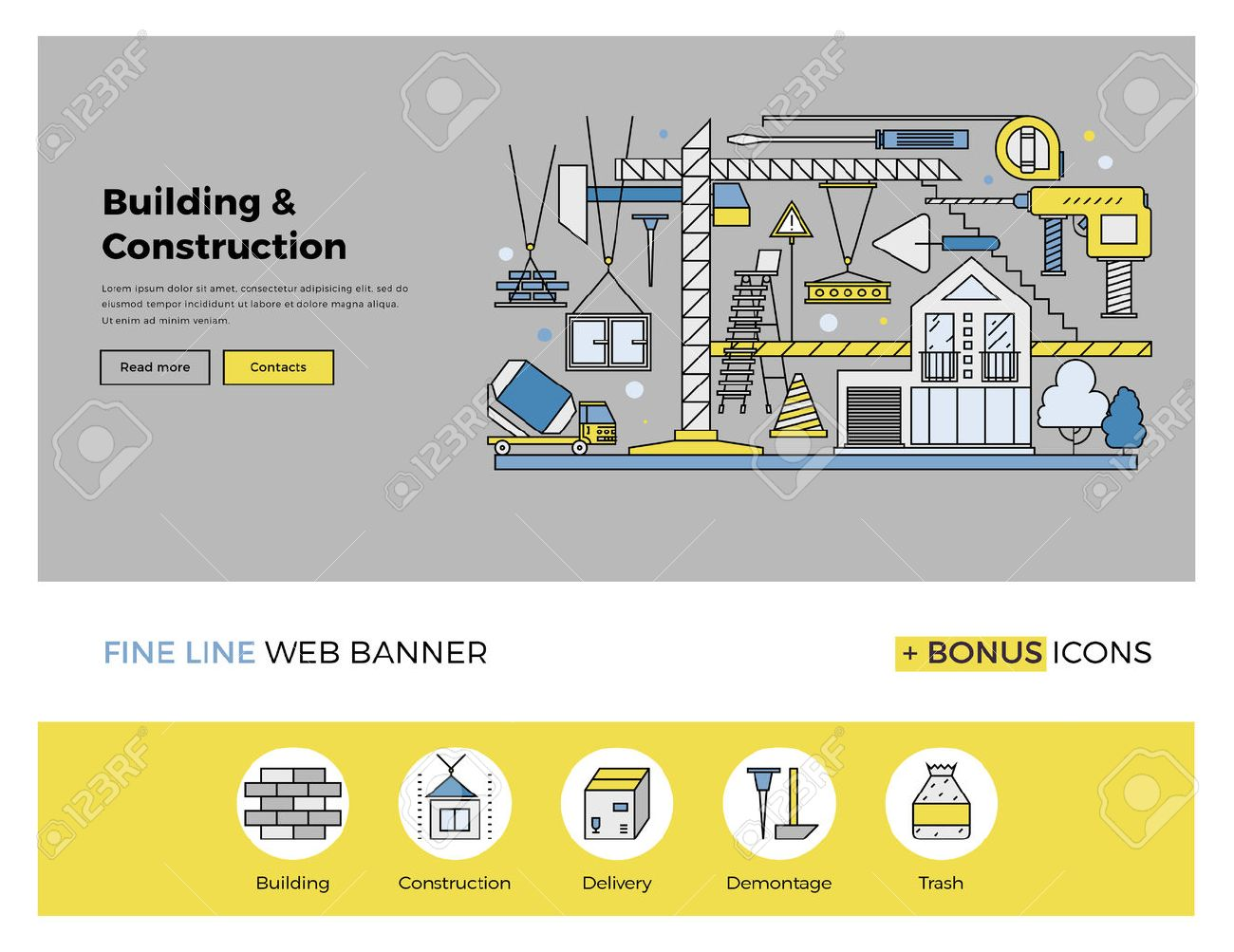 Flat line design of web banner template with outline icons of building industry construction process, urban architecture work progress. Modern vector illustration concept for website or infographics. Stock Vector - 47210753