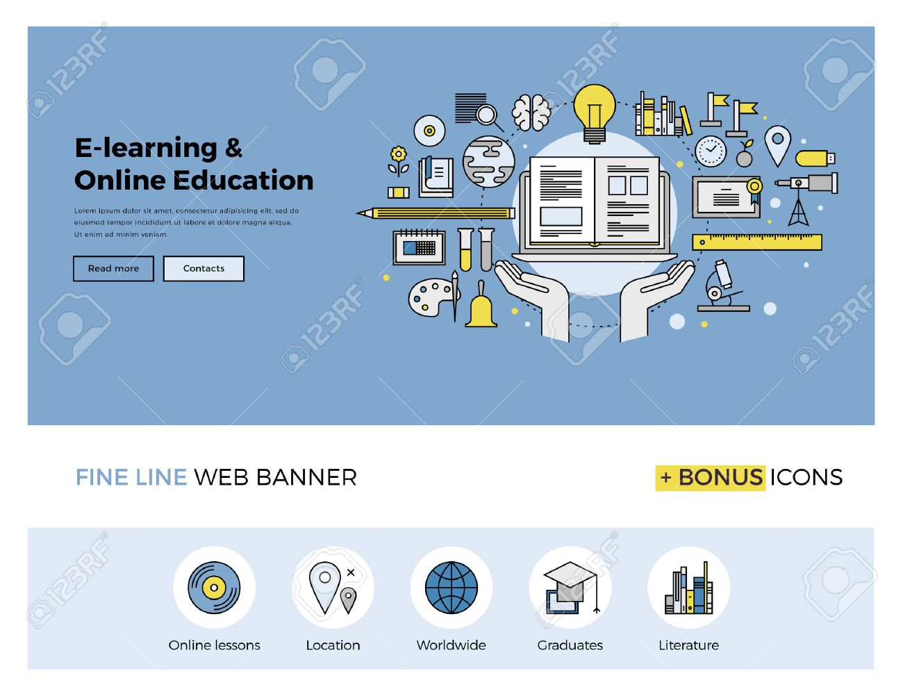 Flat line design of web banner template with outline icons of online education, internet study course, video lessons, distance learning. Modern vector illustration concept for website or infographics. Stock Vector - 47210762