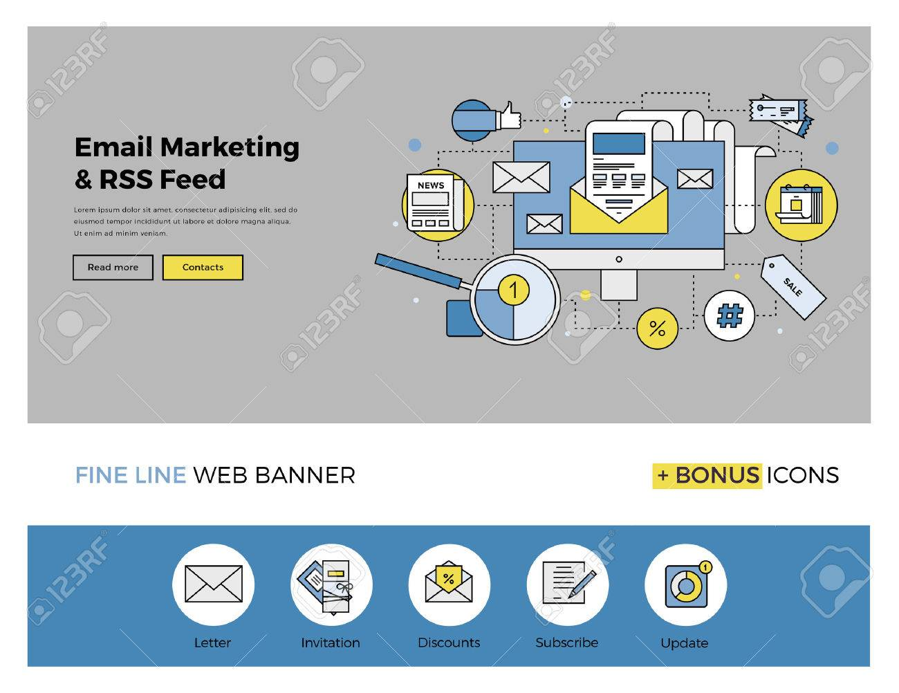 Flat Line Design Of Web Banner Template With Outline Icons Of ...