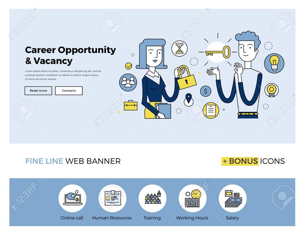 Flat line design of web banner template with outline icons of business people career opportunity, human resource hiring best candidate. Modern vector illustration concept for website or infographics. Stock Vector - 47210796