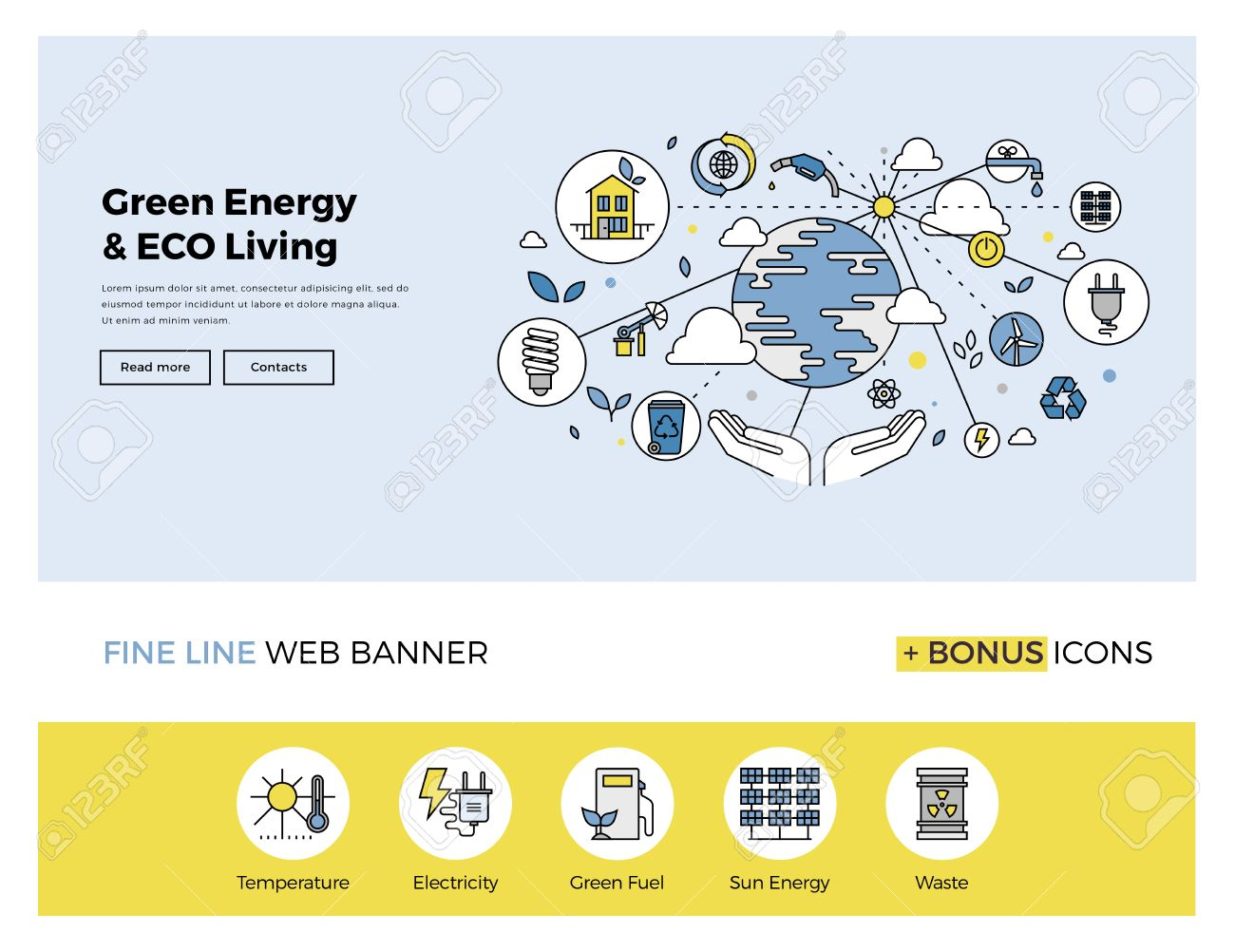 Flat line design of web banner template with outline icons of clean technology for green energy, saving planet, ecology care living. Modern vector illustration concept for website or infographics. Stock Vector - 47210797