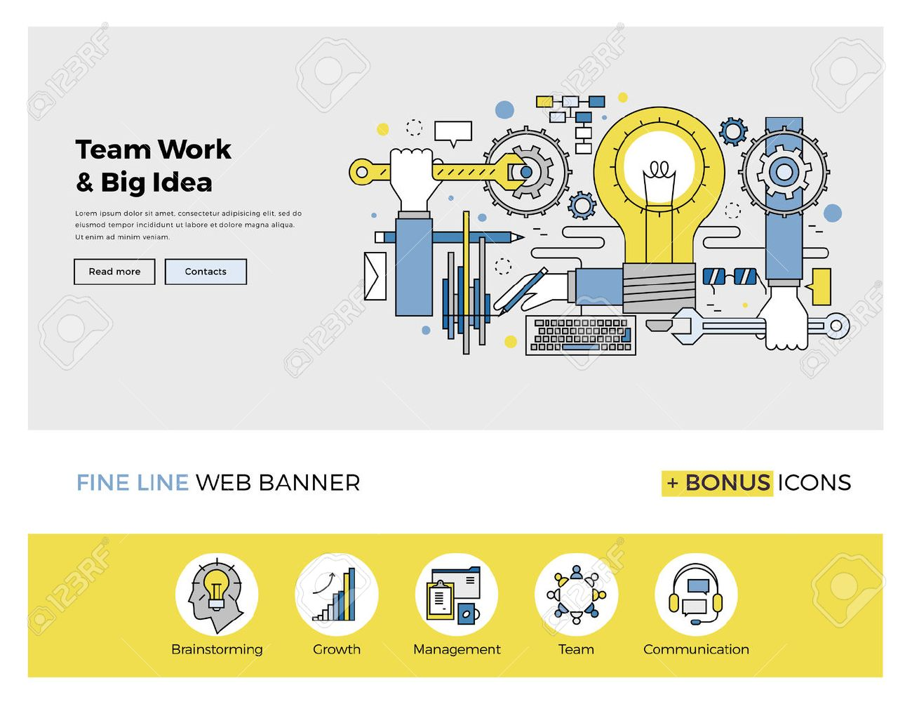 Flat line design of web banner template with outline icons of team work management on big idea, people organization of startup process. Modern vector illustration concept for website or infographics. Stock Vector - 47210800