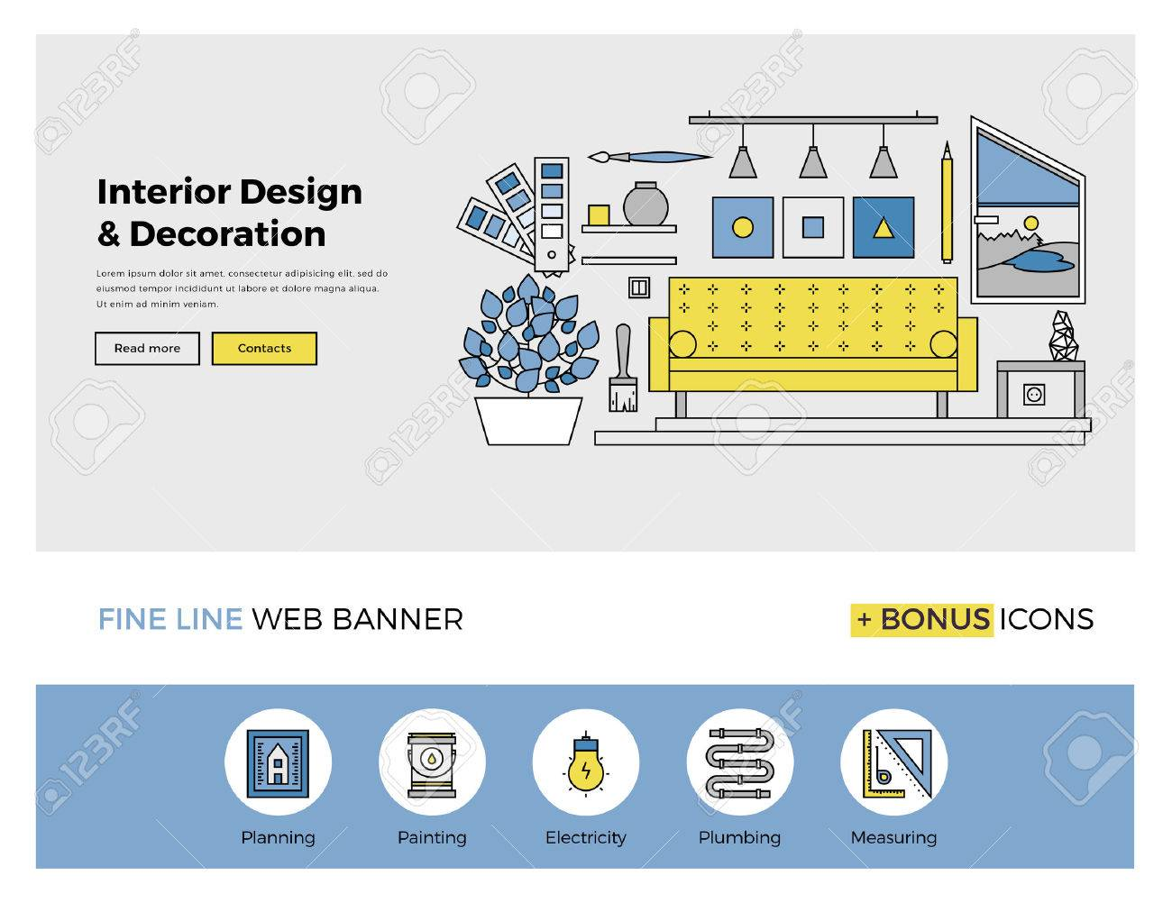 Flat Line Design Of Web Banner Template With Outline Icons Living Room Interior And