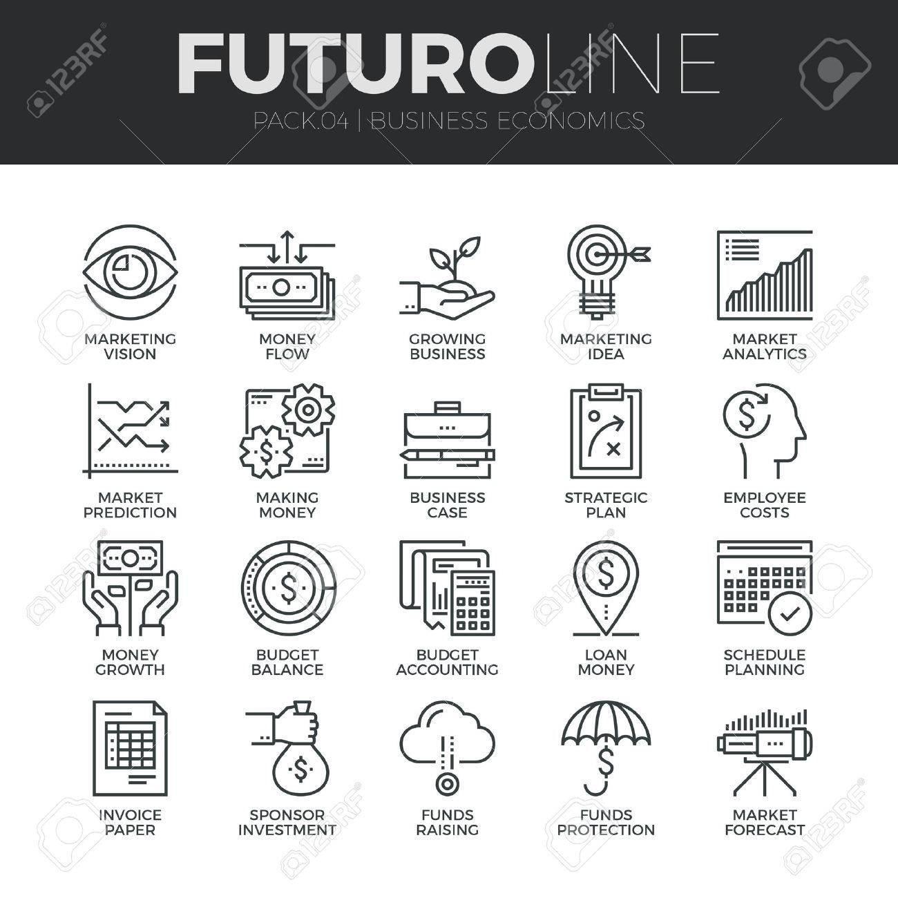 Modern thin line icons set of business economic development, financial growth. Premium quality outline symbol collection. Simple mono linear pictogram pack. Stroke vector logo concept for web graphics. Stock Vector - 48415360