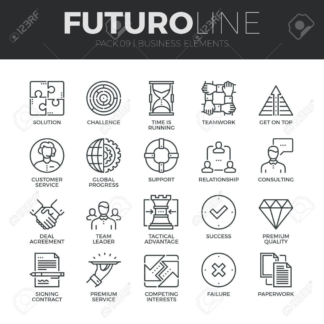 Modern thin line icons set of doing business elements, solution for clients. Premium quality outline symbol collection. Simple mono linear pictogram pack. Stroke vector logo concept for web graphics. Stock Vector - 48415469