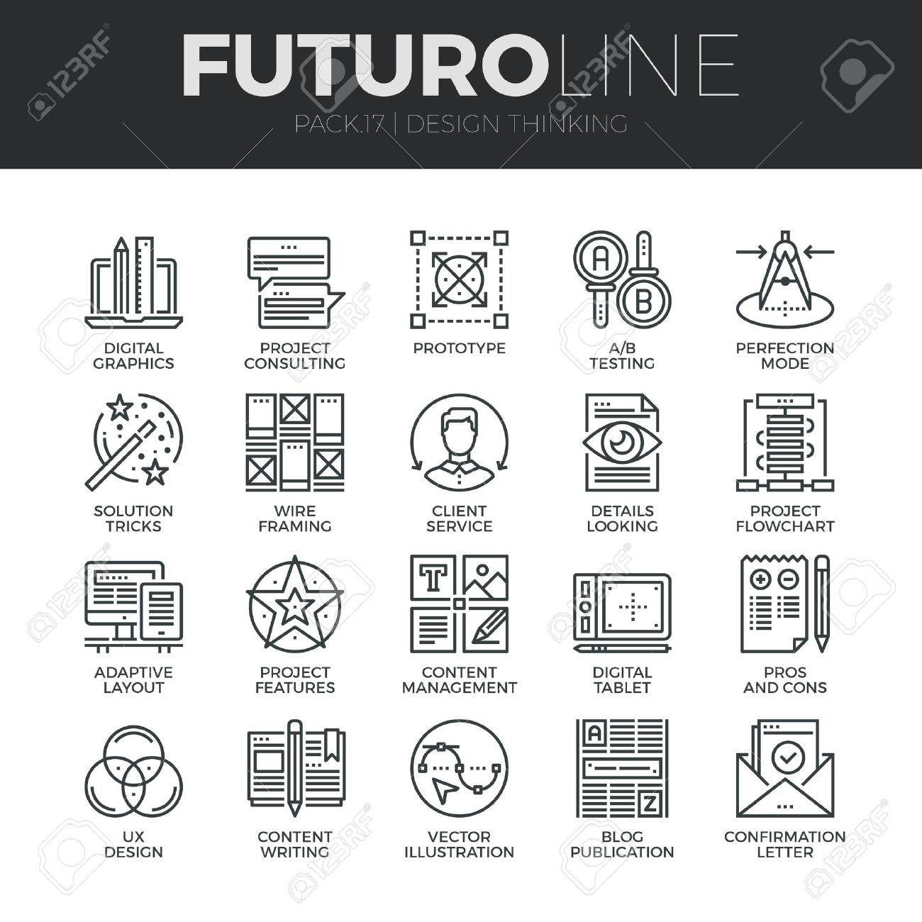 Modern thin line icons set of content production studio, solution projecting. Premium quality outline symbol collection. Simple mono linear pictogram pack. Stroke vector logo concept for web graphics. Stock Vector - 48417647