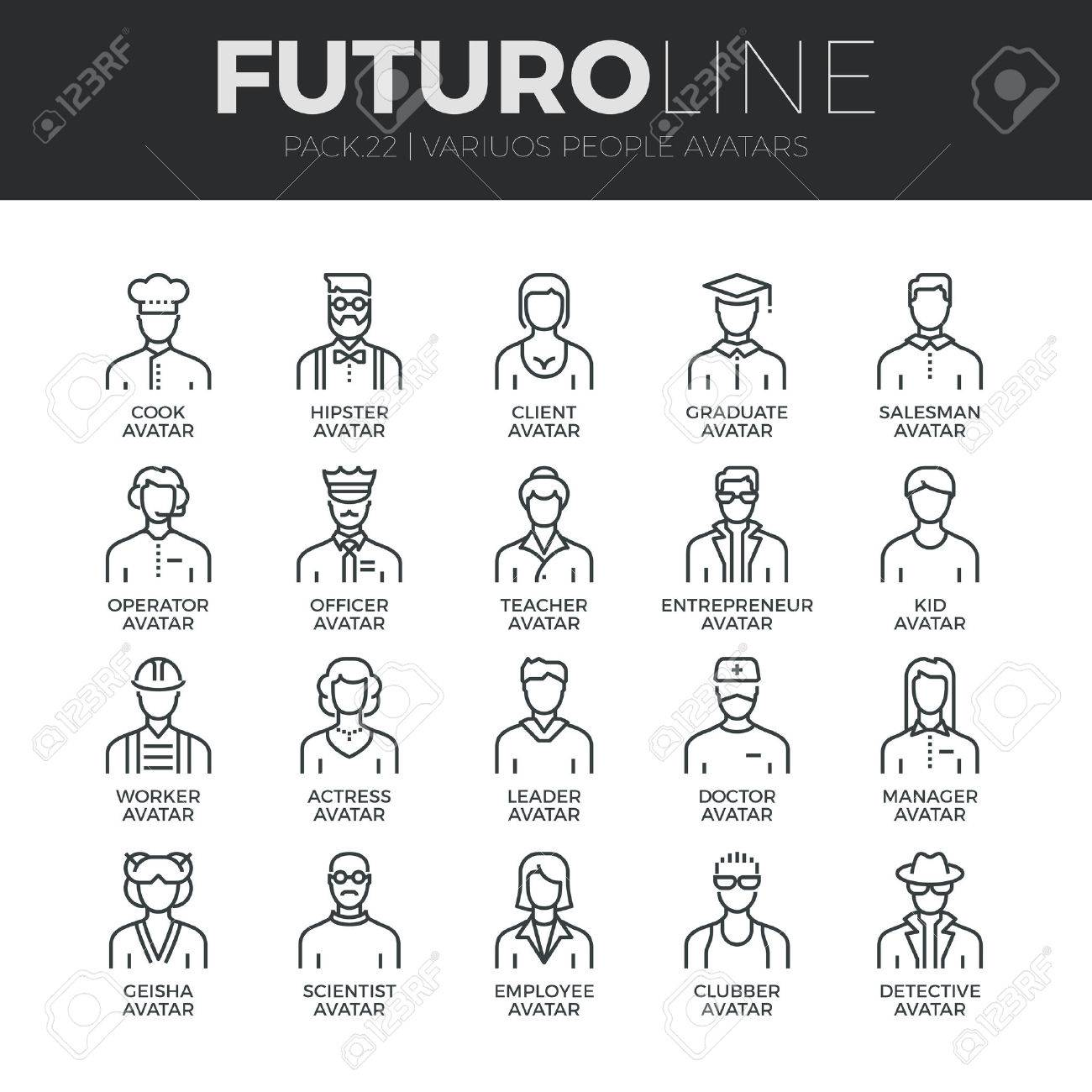 Modern thin line icons set of people avatars, various human characters staff. Stock Vector - 48563072