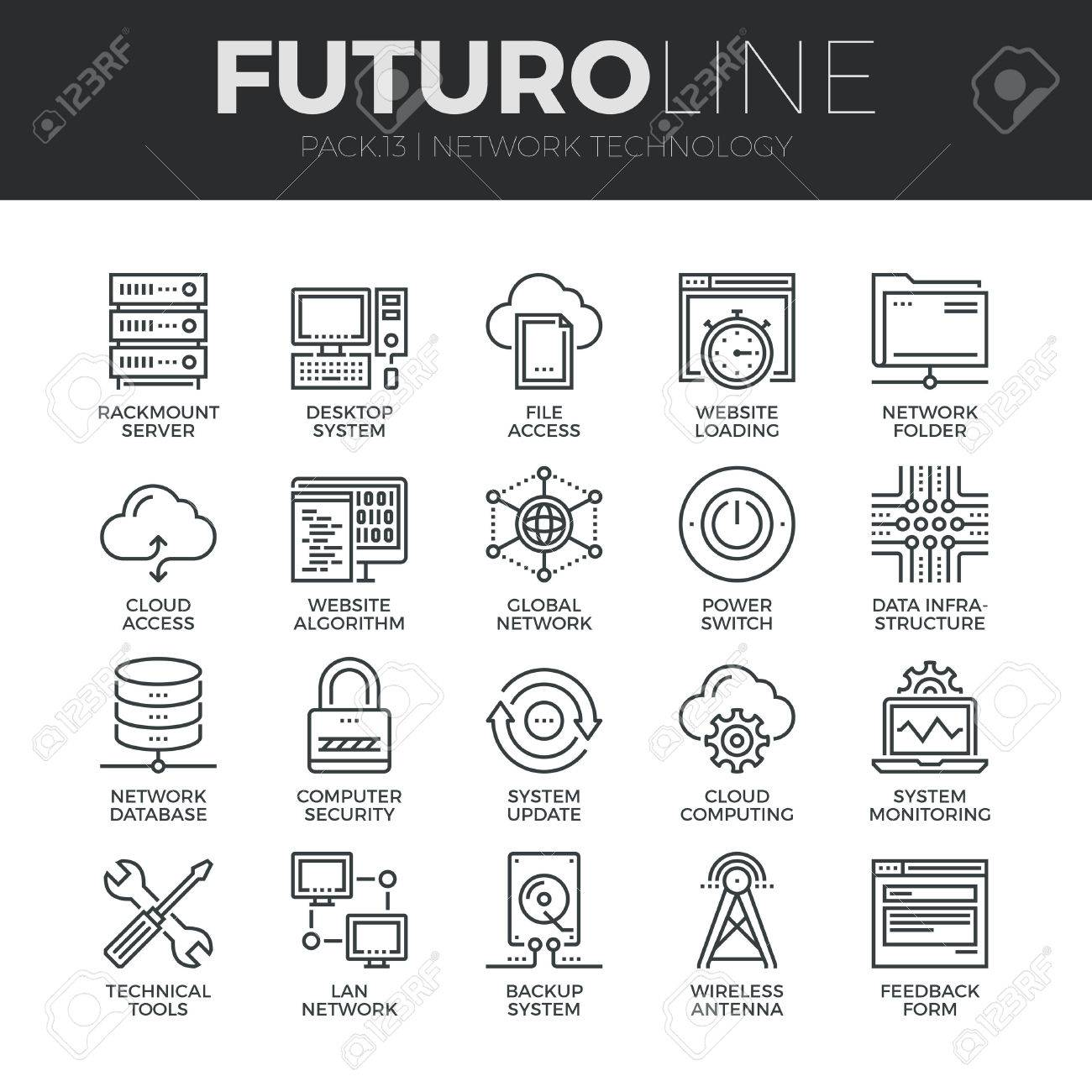 Modern thin line icons set of  cloud computing network, internet data technology. Premium quality outline symbol collection. Simple mono linear pictogram pack. Stroke vector logo concept for web graphics. Stock Vector - 48563092