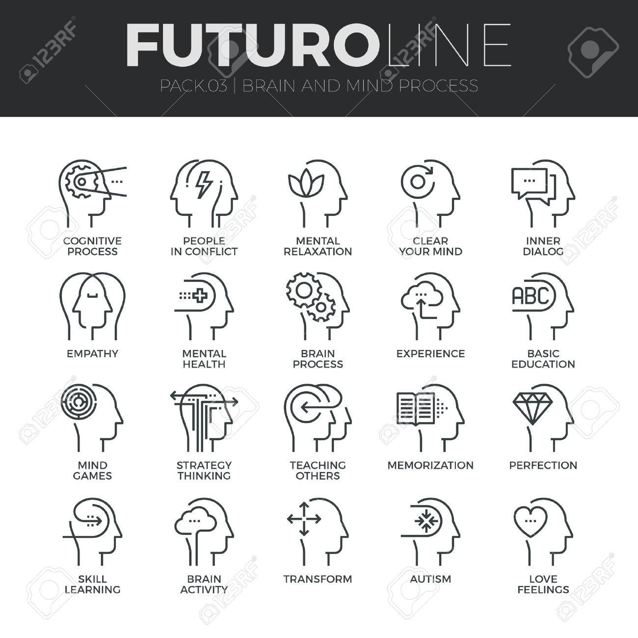 Modern thin line icons set of human mind process, brain features and emotions. Stock Vector - 48563112