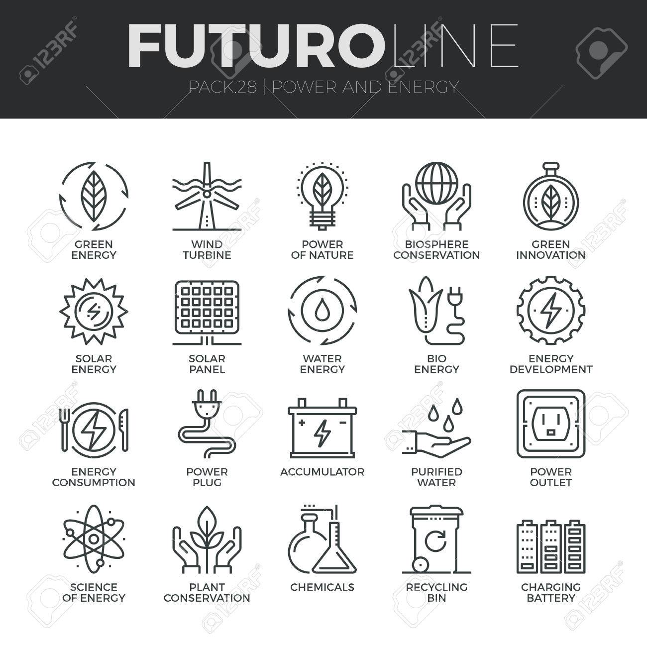 Modern thin line icons set of eco friendly green energy, clean sources of power. Stock Vector - 48563113