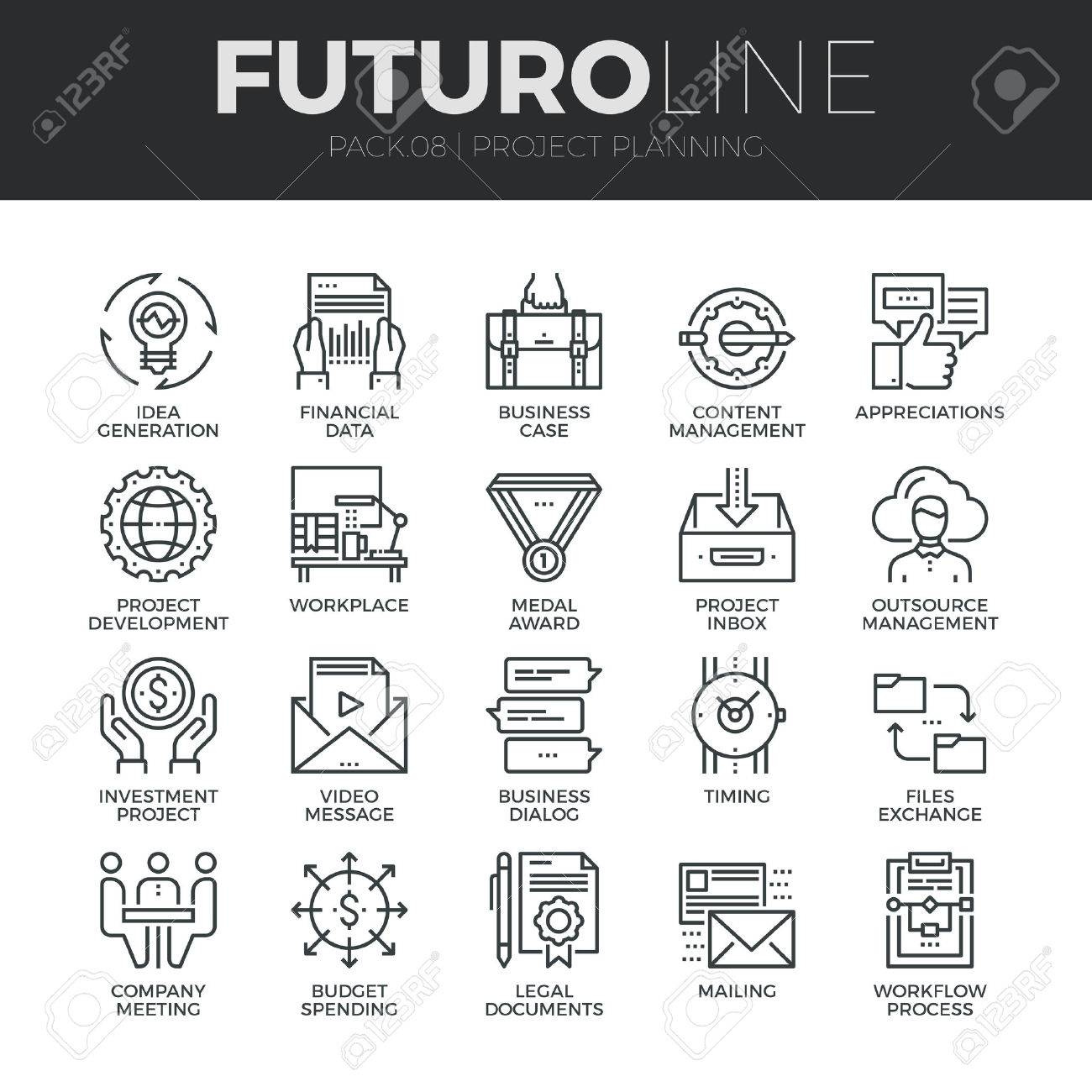 modern thin line icons set of project planning and business workflow