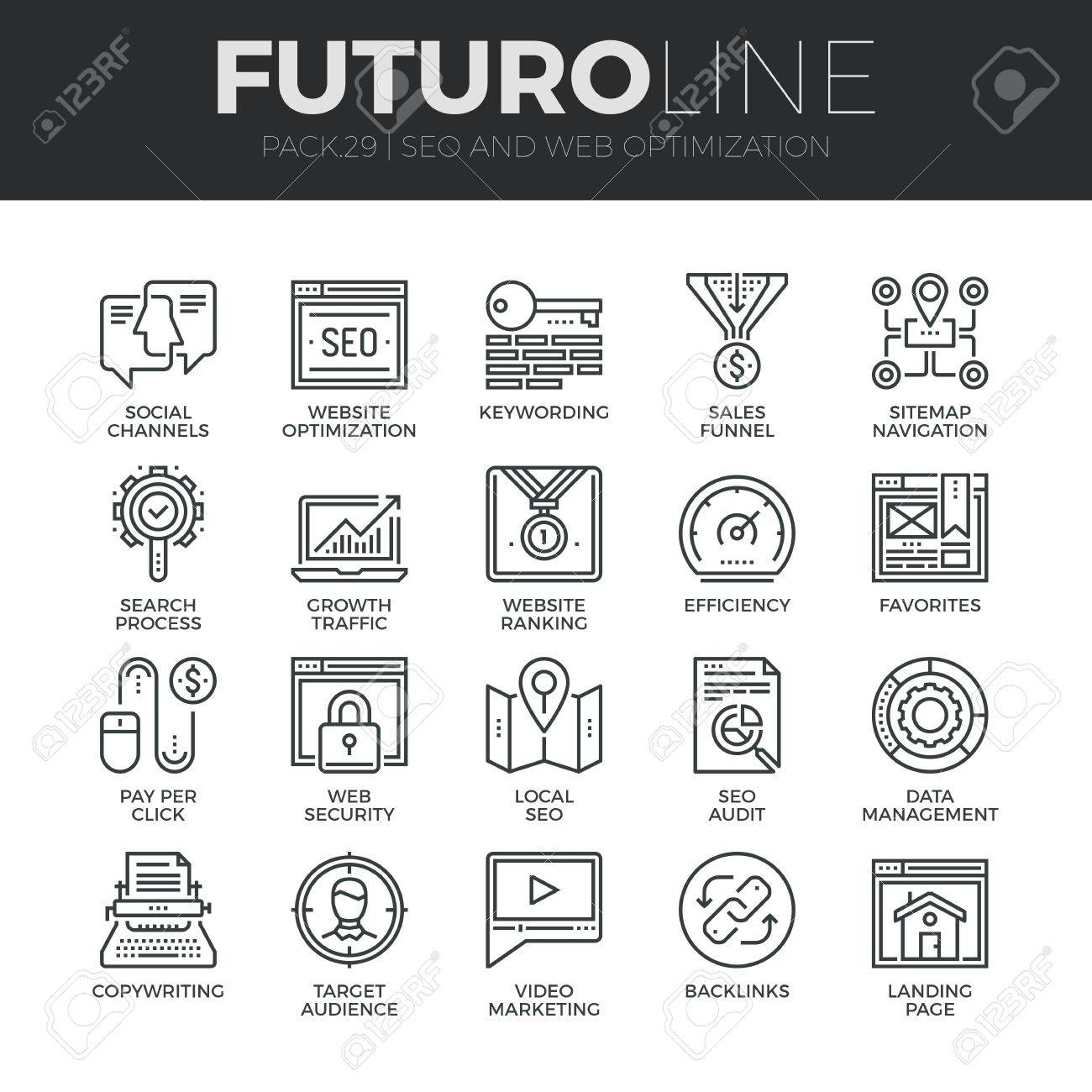 Modern thin line icons set of search engine optimization tools for growth traffic. Premium quality outline symbol collection. Simple mono linear pictogram pack. Stroke vector concept for web graphics. Stock Vector - 48631676