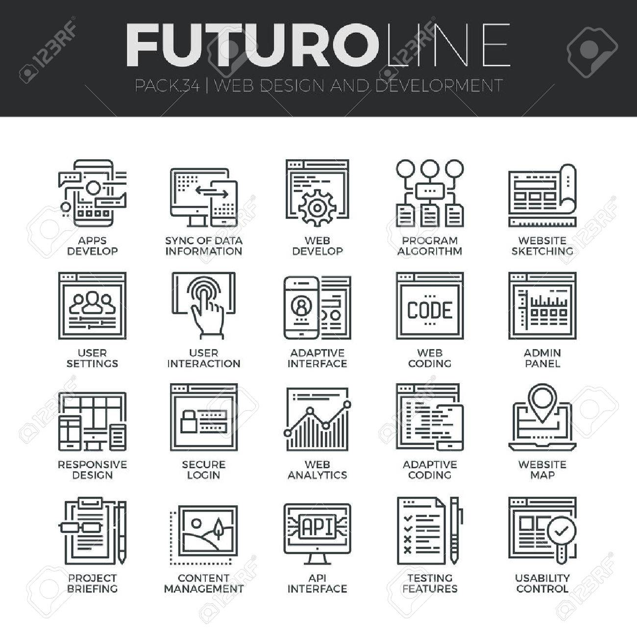 Modern thin line icons set of adaptive website customization, web develop process. Premium quality outline symbol collection. Simple mono linear pictogram pack. Stroke vector logo concept for web graphics. Stock Vector - 48709818