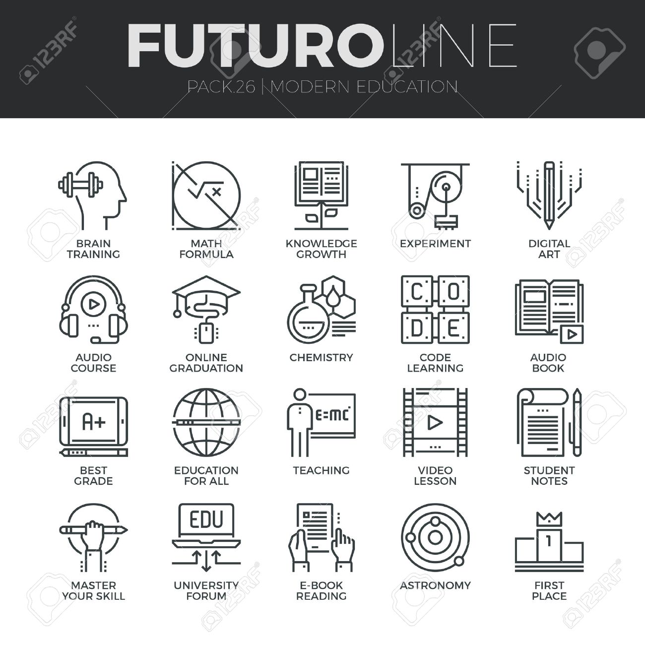Moderne Dünne Linie Symbole Der Online-Ausbildung Klasse Und ...