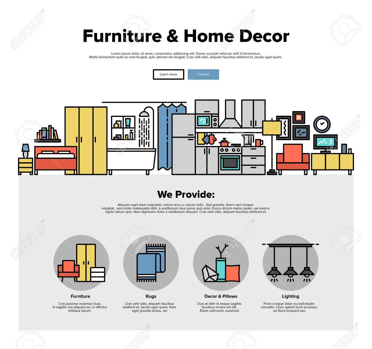Eine Seite Web-Design-Vorlage Mit Dünnen Linie Icons Von Zu Hause ...