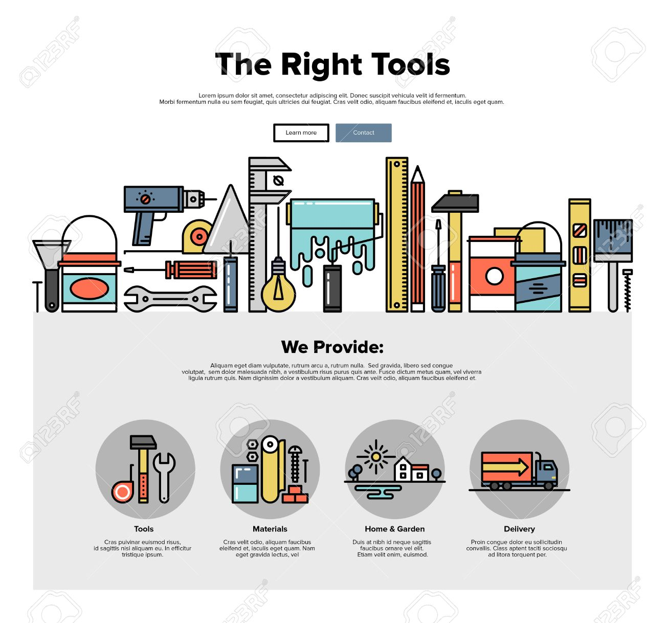 One page web design template with thin line icons of repair tools store, build instruments for workman, painting and renovation equipment. Flat design graphic hero image concept, website elements layout. - 49564004