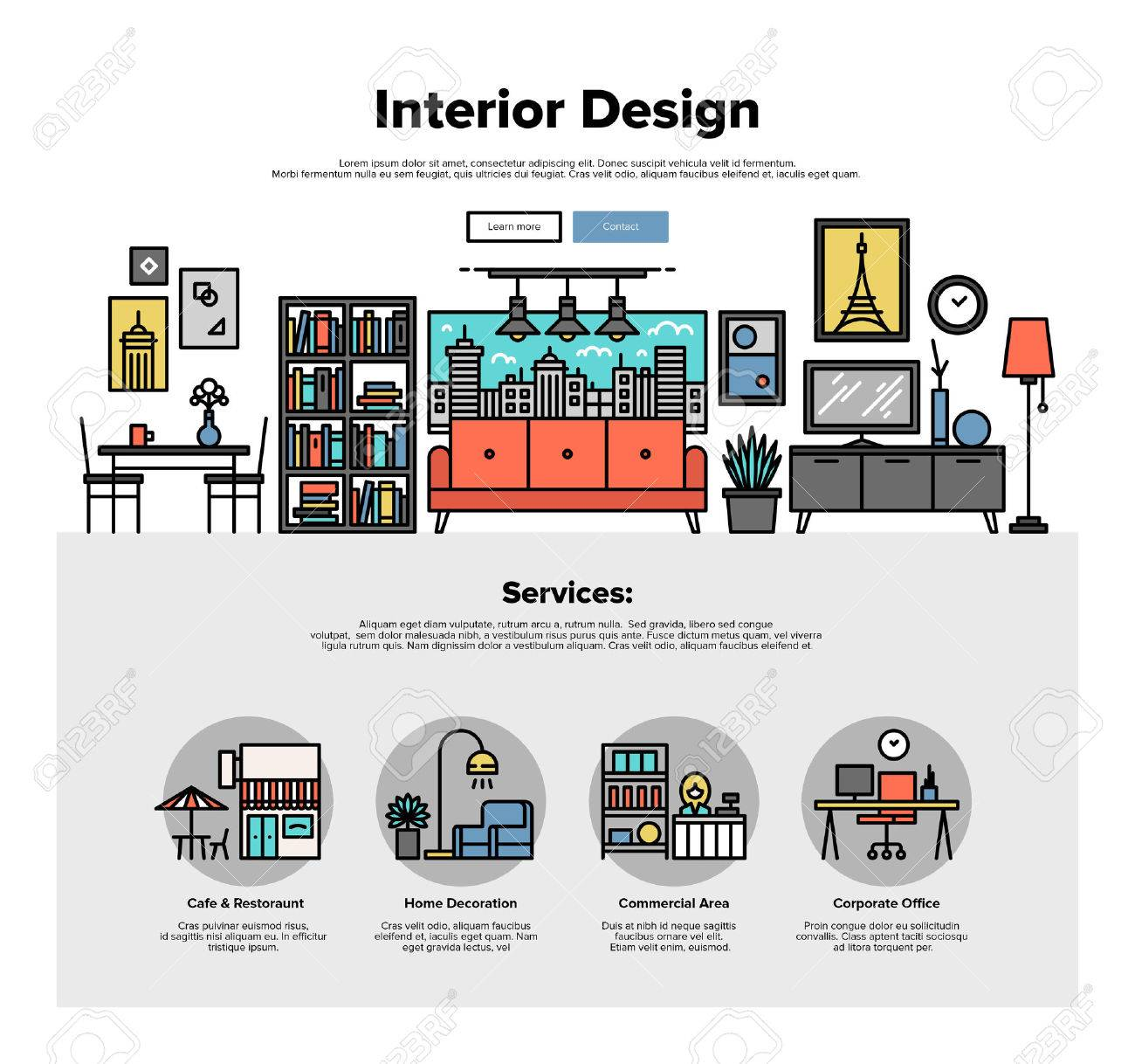 One Page Web Design Template With Thin Line Icons Of Commercial Property Decoration Real Estate