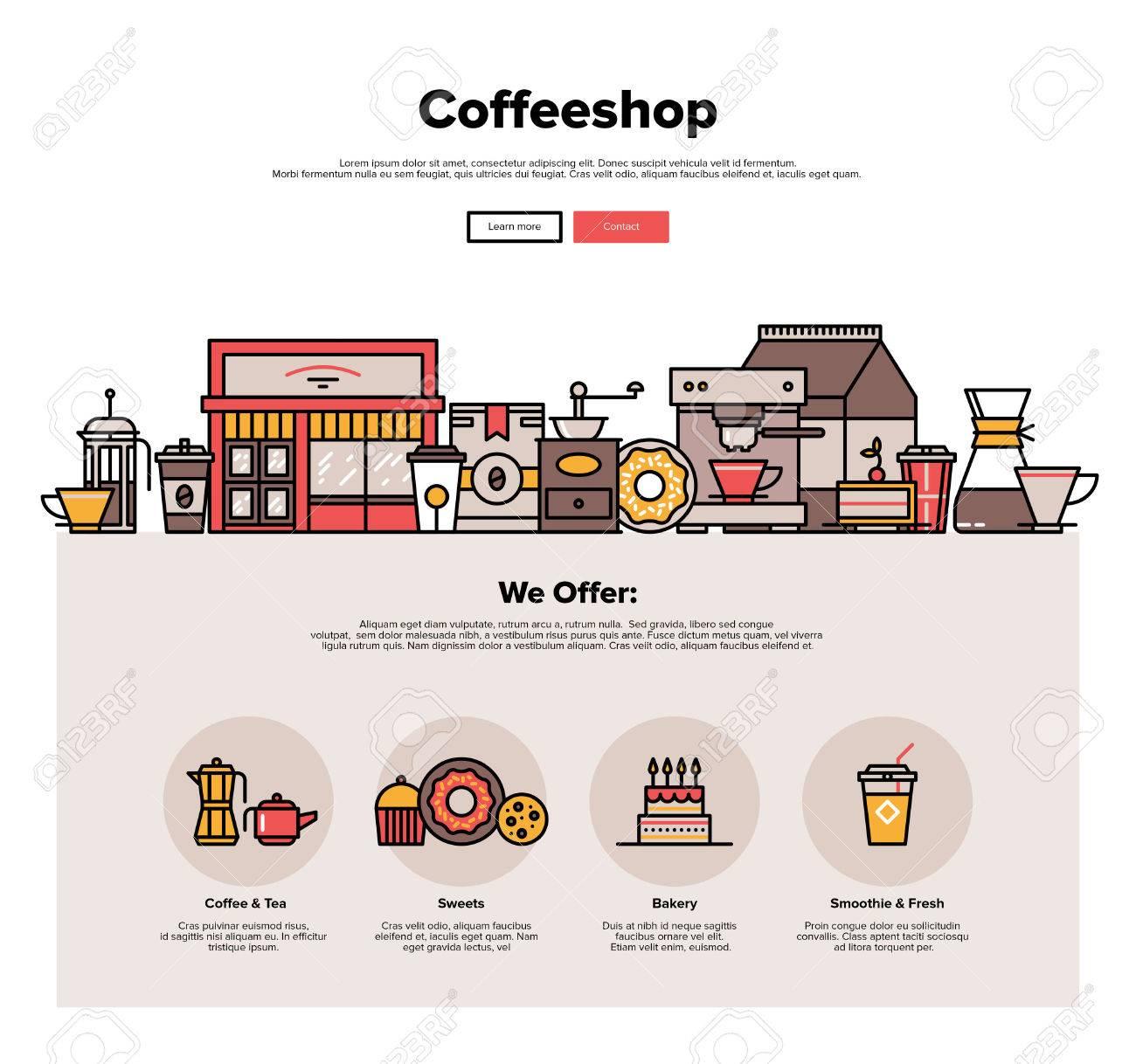 Eine Seite Web-Design-Vorlage Mit Dünnen Linie Ikonen Der Lokalen ...