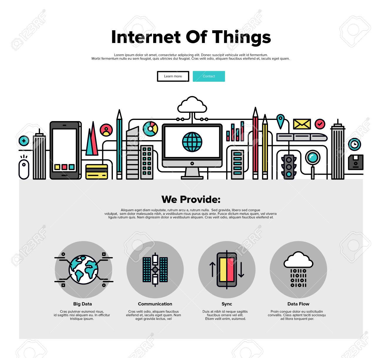 One page web design template with thin line icons of internet of things data technology, network infrastructure of connecting everything. Flat design graphic hero image concept, website elements layout. Stock Vector - 49564008