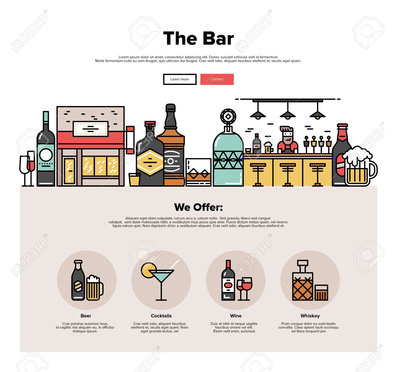One Page Web Design Template With Thin Line Icons Of Local Bar ...