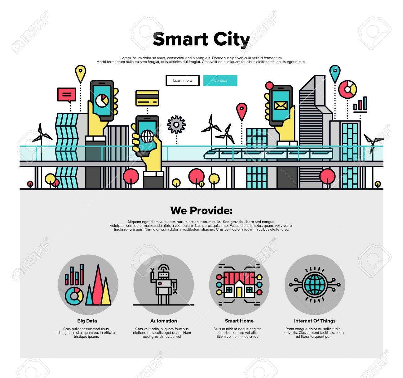 One page web design template with thin line icons of smart city and internet of things and everything, future technology for living. Flat design graphic hero image concept, website elements layout. Stock Vector - 49564013