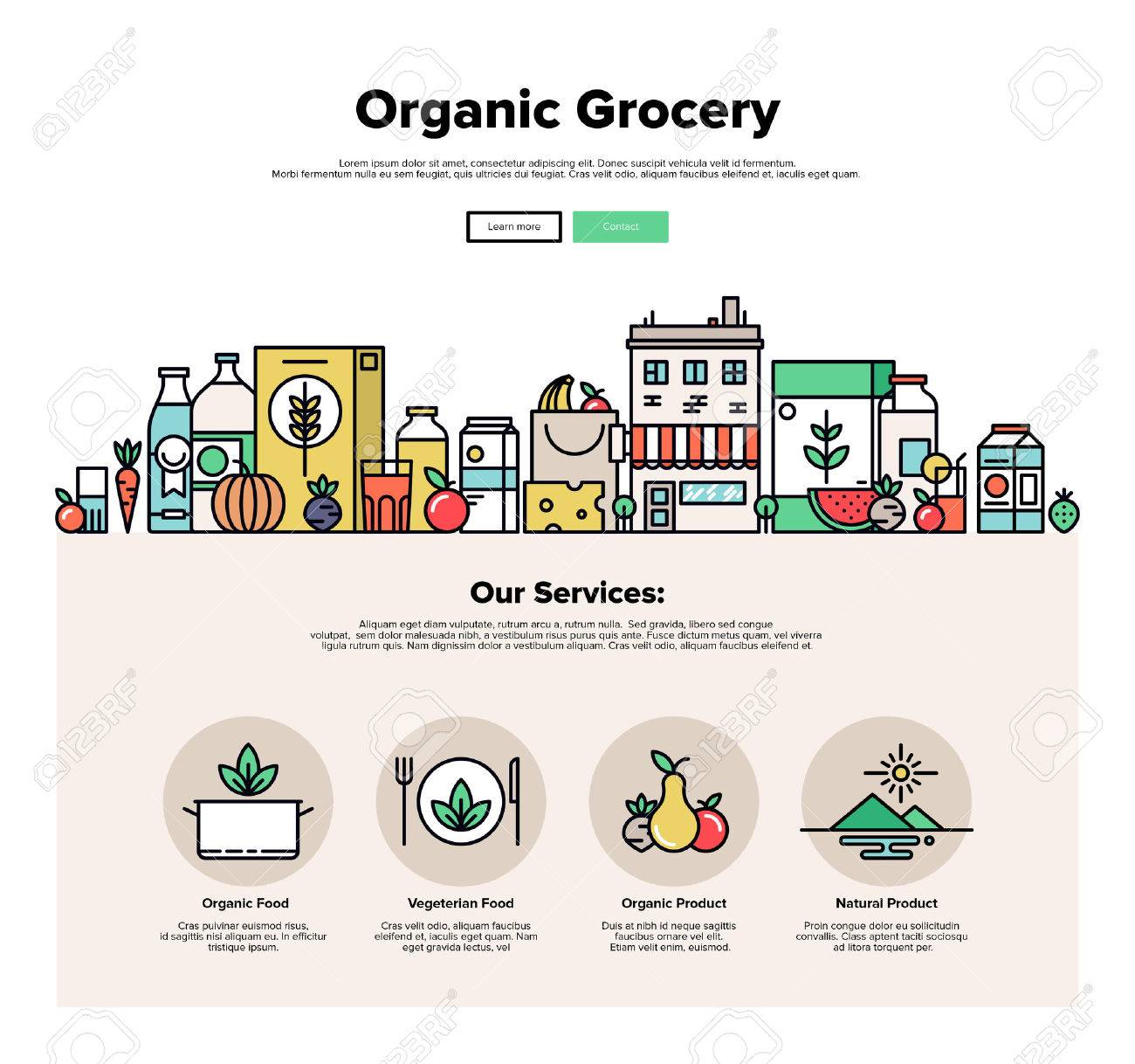 One page web design template with thin line icons of organic food and fresh natural products, small city store with vegetarian groceries. Flat design graphic hero image concept, website elements layout. Stock Vector - 49564018