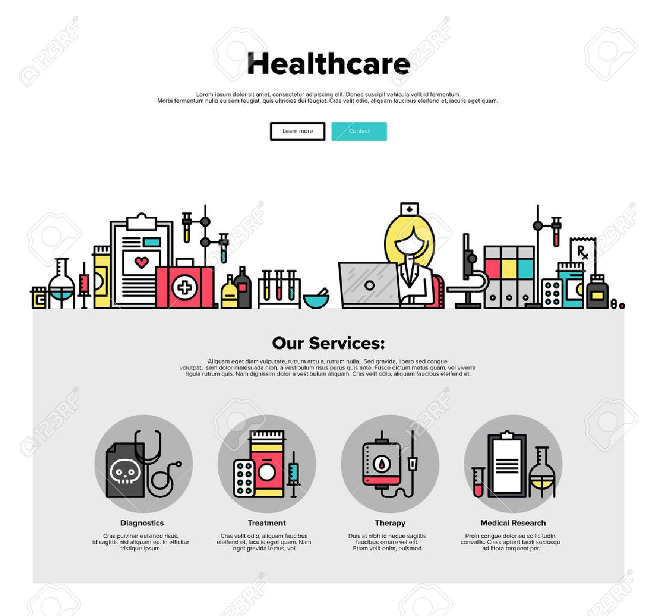 Una Página De La Plantilla De Diseño Web Con Iconos De Líneas Finas ...