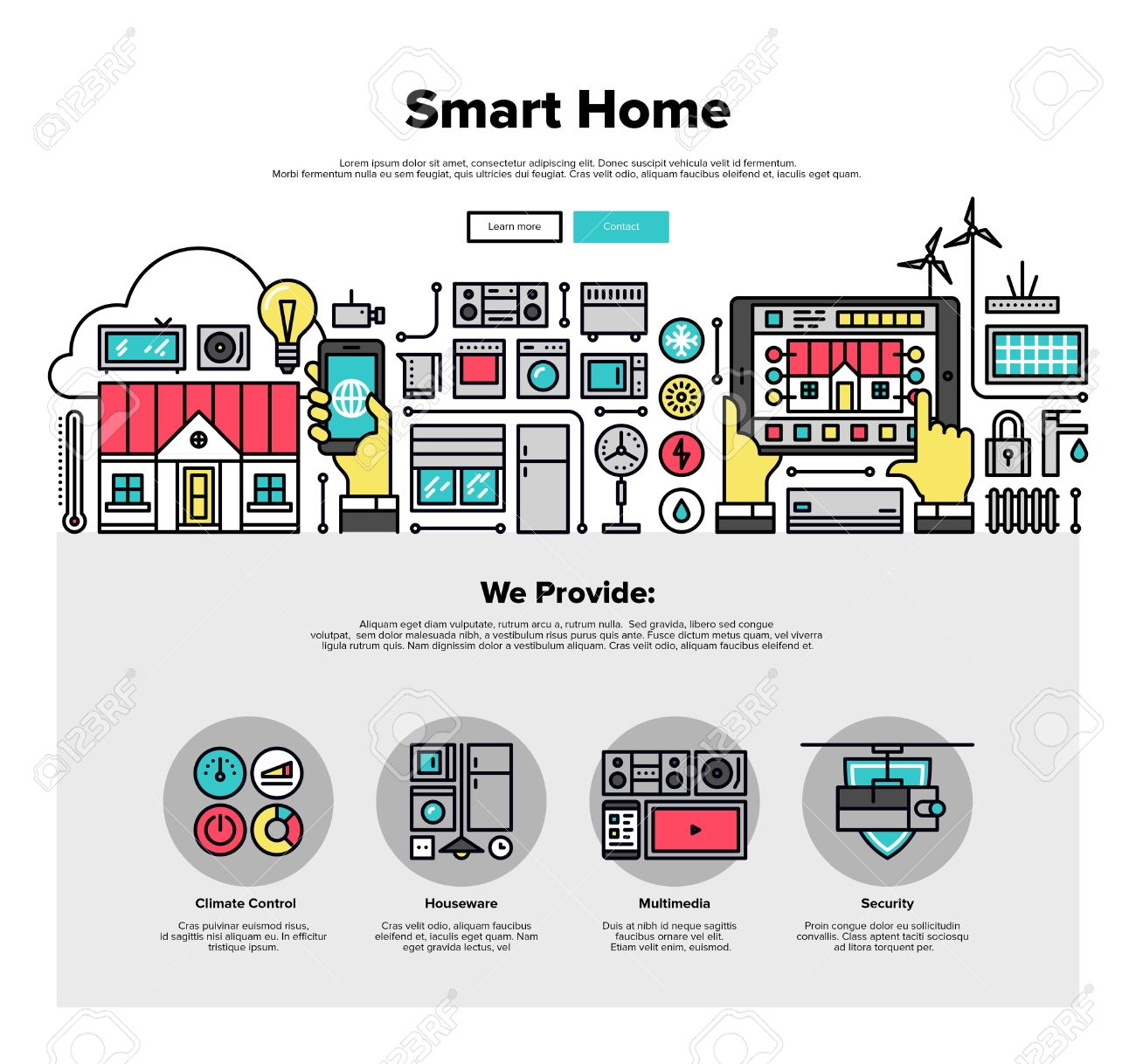 One Page Web Design Template With Thin Line Icons Of Smart Home Automation  System, Smart