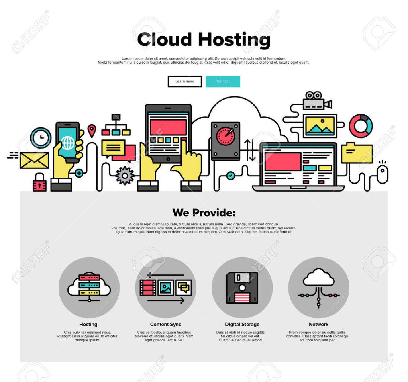 One Page Web Design Template With Thin Line Icons Of Cloud Hosting ...