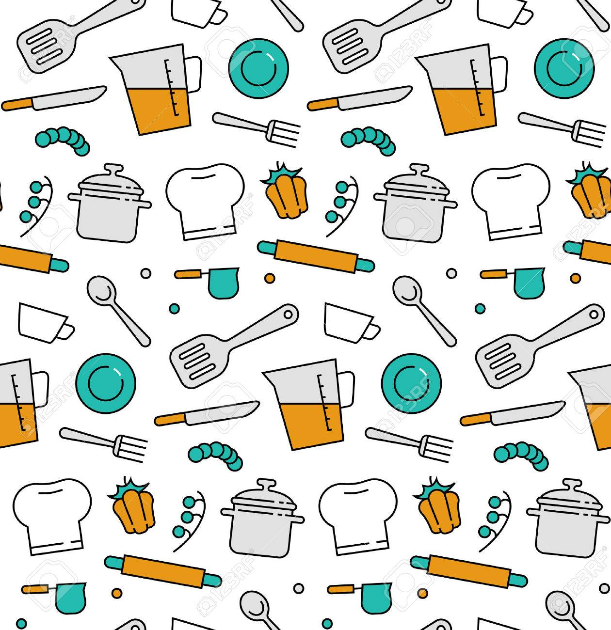 Modern Line Icons Seamless Pattern Texture Of Cooking Utensils ...