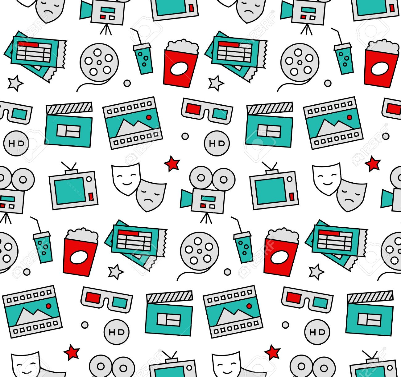Modern line icons seamless pattern texture of watching action movie, cinema shooting, home theater leisure entertainment. Flat design graphic, perfect for web background or print wrapping decoration. Foto de archivo - 50569099