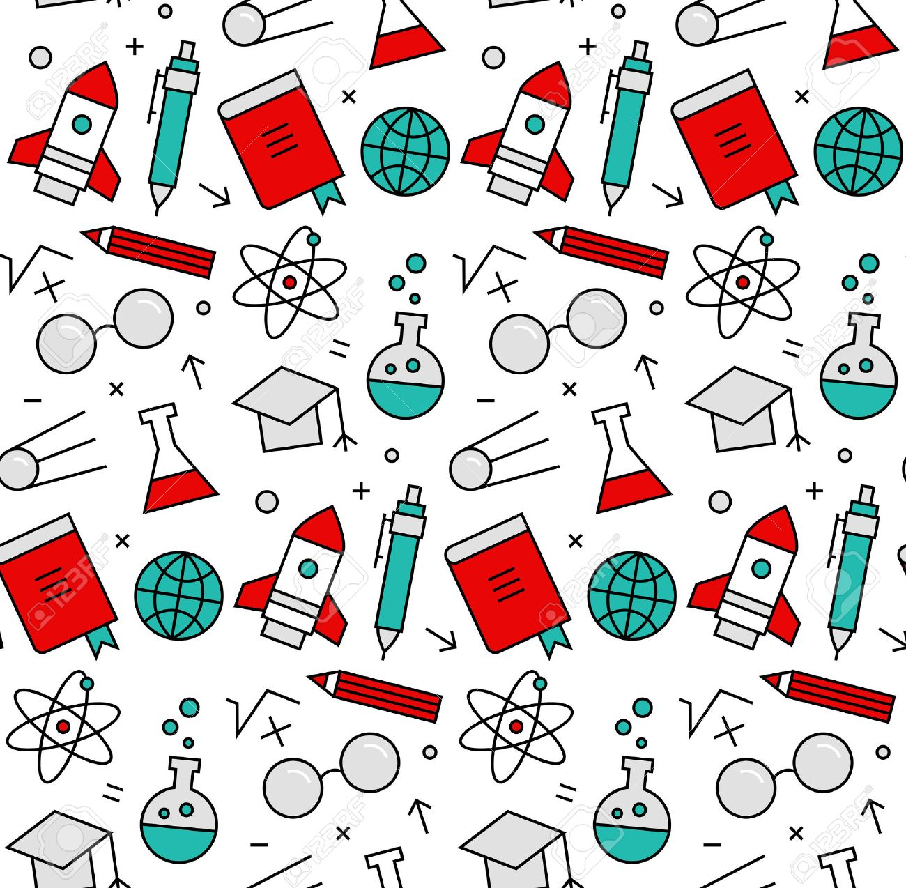 Modern line icons seamless pattern texture of rocket science study and learning, chemistry research, laboratory experiment. Flat design graphic, perfect for web background or print wrapping decoration. - 50569104