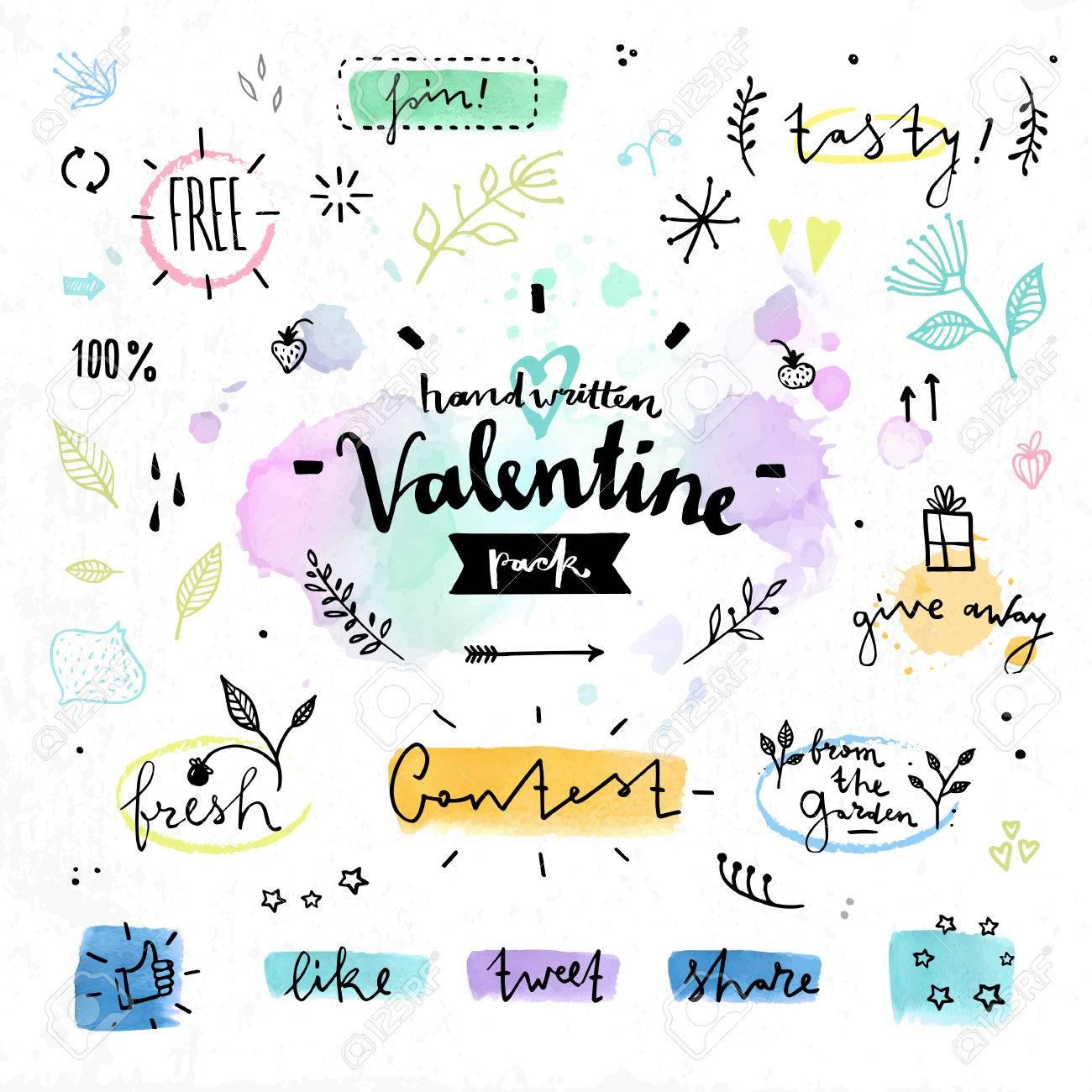 バレンタインの日の花愛レタリングの葉 ハーブと自然の製品のオーガニック カフェの描かれた装飾の要素を手します 手書きのベクトル図面デザイン カラフルな水彩背景に設定 のイラスト素材 ベクタ Image