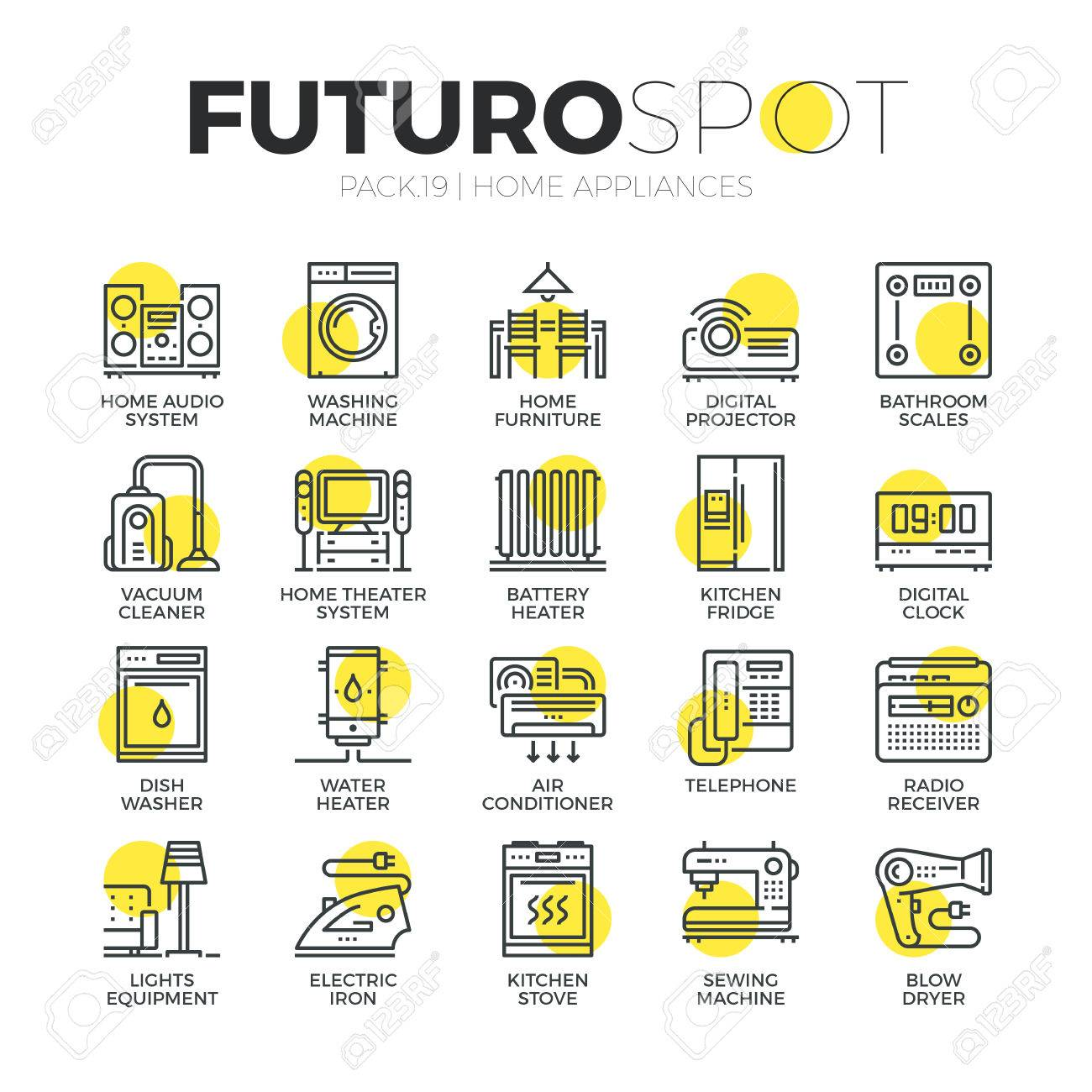 Stroke line icons set of household appliances, consumer electronics. Modern flat linear pictogram concept. Premium quality outline symbol collection. Simple vector material design of web graphics. - 52340905