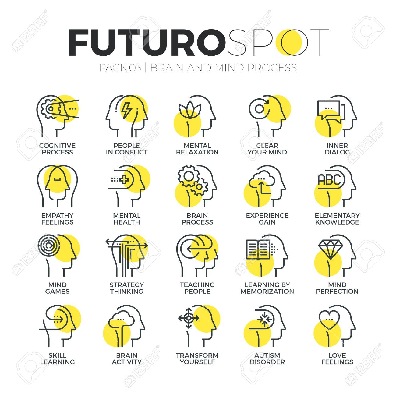 Stroke line icons set of human brain features, mind feelings and emotions. Modern flat linear pictogram concept. Premium quality outline symbol collection. Simple vector material design of web graphics. Stock Vector - 52340913