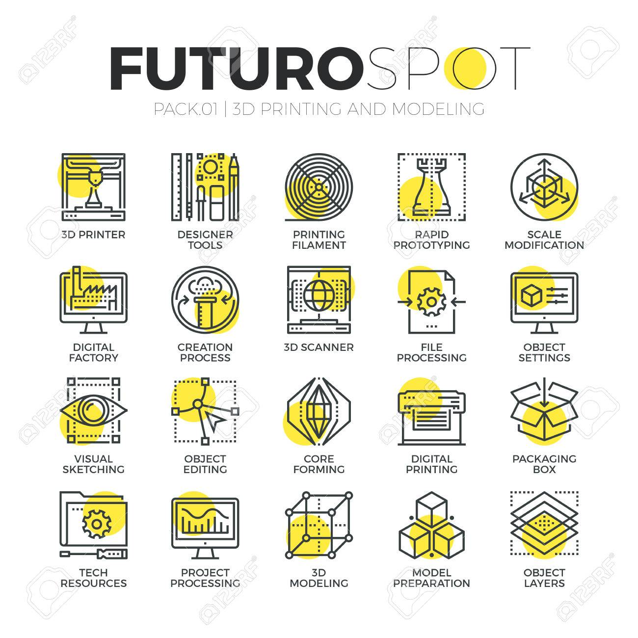 Stroke line icons set of 3D modeling, 3D printing and scanning technology. Modern flat linear pictogram concept. Premium quality outline symbol collection. Simple vector material design of web graphics. - 52340921