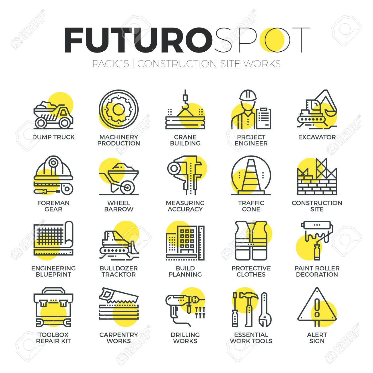 Stroke line icons set of construction building works, engineering tools. Modern flat linear pictogram concept. Premium quality outline symbol collection. Simple vector material design of web graphics. Stock Vector - 52340934