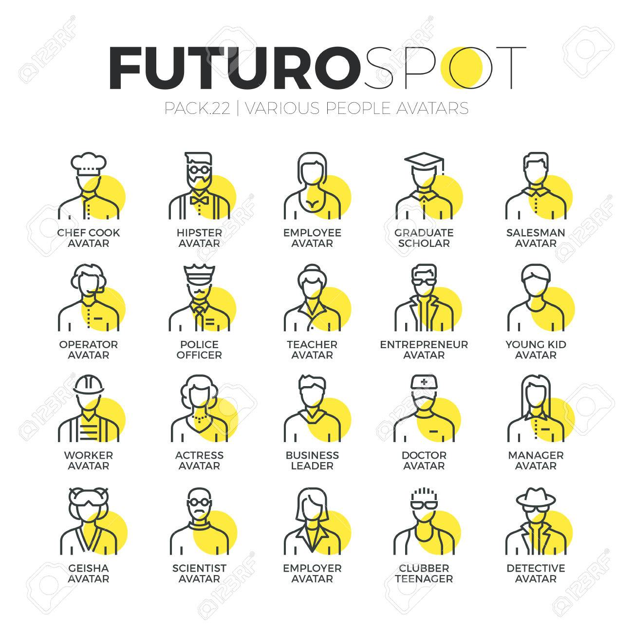 Stroke line icons set of various human avatars, people profession profile. Modern flat linear pictogram concept. Premium quality outline symbol collection. Simple vector material design of web graphics. Stock Vector - 52341014