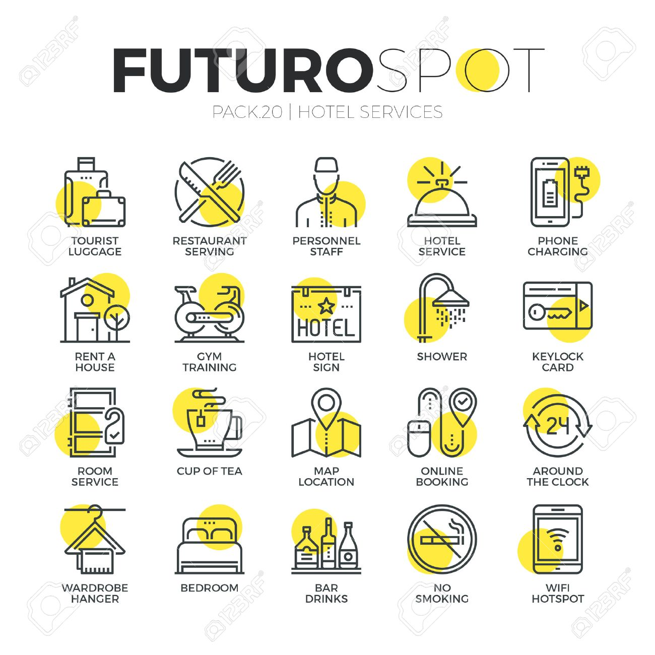 Stroke Line Icons Set Of Hotel Accommodation Services House Amenities Modern Flat Linear Pictogram
