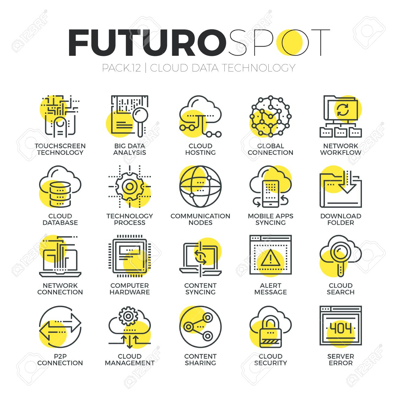 Stroke line icons set of cloud computing big data network technology. Modern flat linear pictogram concept. Premium quality outline symbol collection. Simple vector material design of web graphics. - 52341019