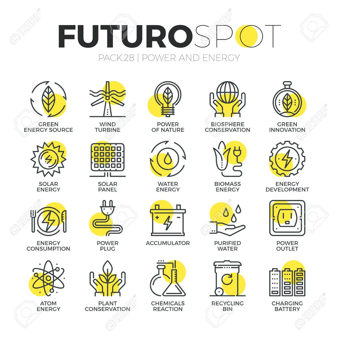 Stroke line icons set of sustainable energy source, eco friendly power. Modern flat linear pictogram concept. Premium quality outline symbol collection. Simple vector material design of web graphics. - 52341021