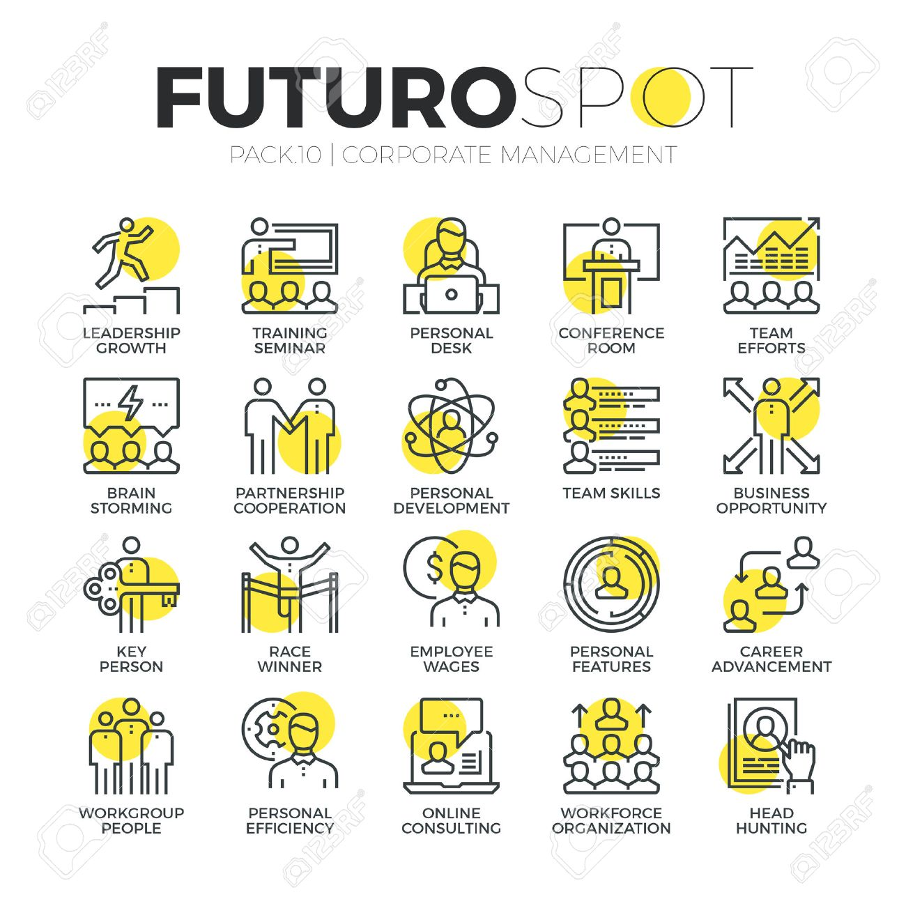 Stroke line icons set of business leadership training and corporate career. Modern flat linear pictogram concept. Premium quality outline symbol collection. Simple vector material design of web graphics. Stock Vector - 52341024