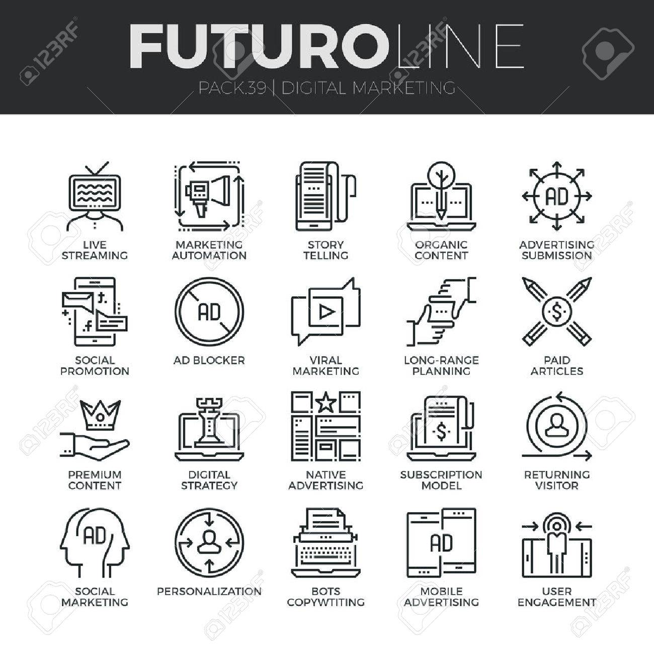 Modern thin line icons set of digital marketing, live streaming and advertising. Premium quality outline symbol collection. Simple mono linear pictogram pack. Stroke vector logo concept for web graphics. Stock Vector - 52341029